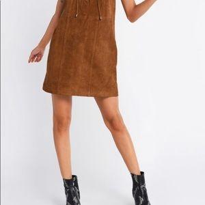 Camel Lace-up V-Neck Suede-look Dress